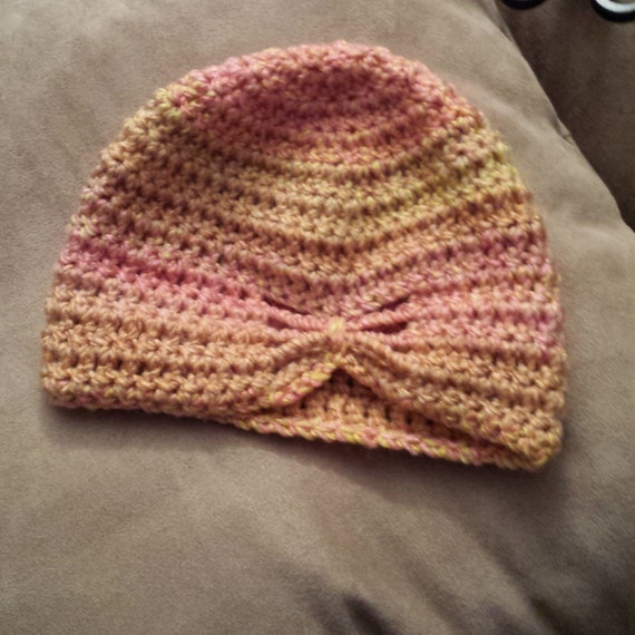 Pink Coral Yellow Crochet Butterfly Hat 3 To 6 Month Hat