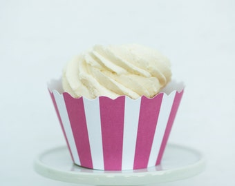 Pink and White Striped Cupcake Wrappers