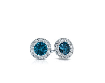 14k Gold Halo Round Blue Diamond Stud Earrings 0.50 ct. tw. (Blue, SI1-SI2)