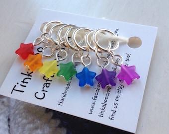 Rainbow star stitch marker set