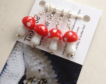 Red toadstool stitch markers