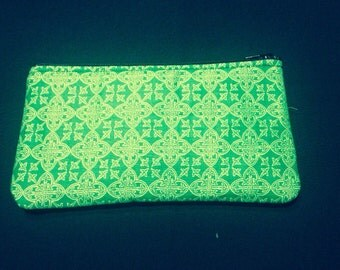 Green Filigree Cross Pencil Case, Coin Purse, Wristlet, Cosmetic Bag #54