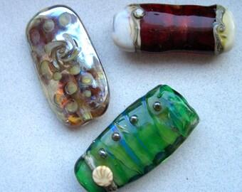 3 Lampwork Focal Beads