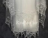 Wedding Veil Bridal Veil pearl veil, two layer veil white ivory veil elbow