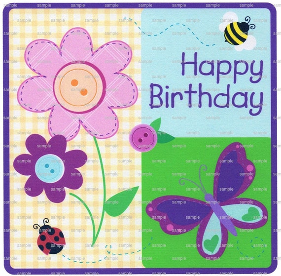 Spring Butterflys Happy Birthday - Edible Cake and Cupcake Topper For Birthday's and Parties! - D2173