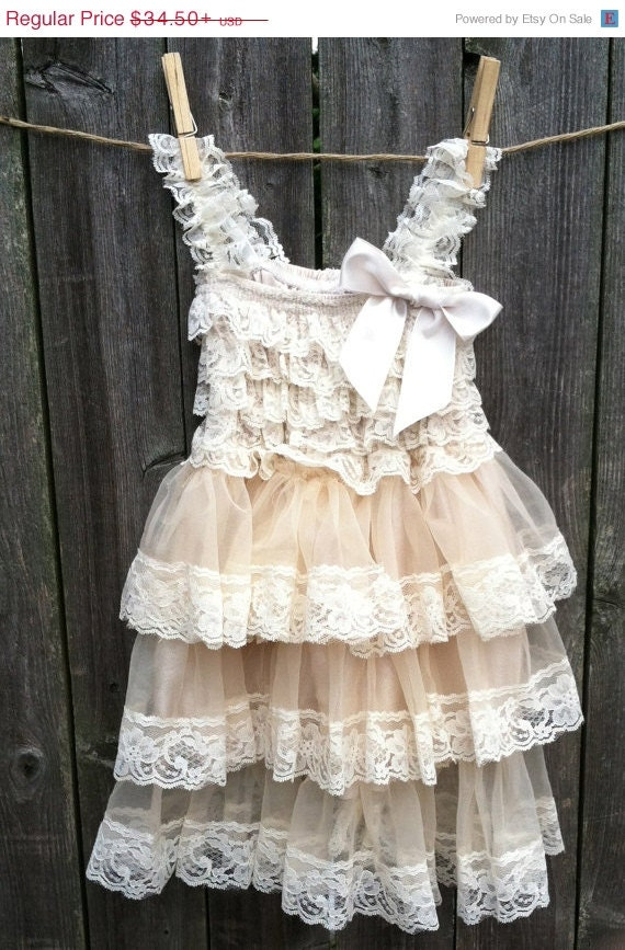 Rustic flower girl dress lace by thedaintydaisynj on etsy for Country wedding flower girl dresses