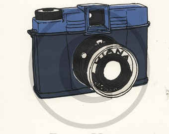 Screenprint of Vintage Diana Camera - Five Layer Portrait Format Screenprint, Dark Blue/Blue/Silver/Dark Grey on White Heavyweight Art Paper