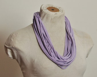 Recycled T-Shirt Necklace Purple Braided