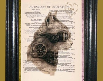 Steampunk Cat - Vintage Dictionary Book Page Art Print Unique Upcycled Page Art Collage Art Cat Print
