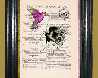 1935 Lady with Black Top Hat and Pink Hummingbird - Vintage Dictionary Page Book Art Print Unique Upcycled Page Art Mixed Media Art Print