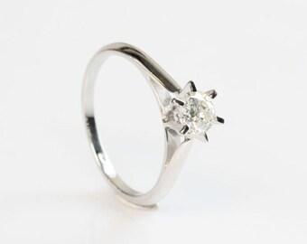 0.40 Ct Diamond Ring   14K White Gold Diamond Ring, Engagement Ring, Size 10