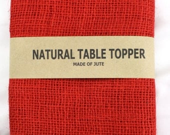 """Red 52"""" x 52""""Burlap Table topper, Burlap Table Cloth for special events, rustic wedding theme, other colors are  available (BH-TSxx)"""
