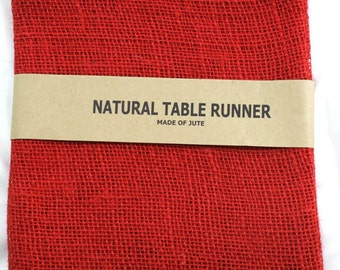 "Red Burlap Table Runner 24"" x 108"" , rustic, country, weddings, finish edges, great for home decor. In other colors (BH-L11)"