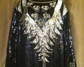 Vintage Full Length Evening Caftan. Stunning Black Sequin Gown with Silver Sequin Embellishment. 1980's, Retro,