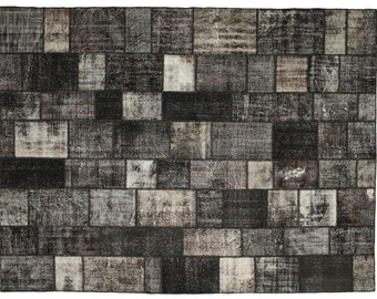 10 X 14 Ft Oversized Black Gray Brown Patchwork Rug Large