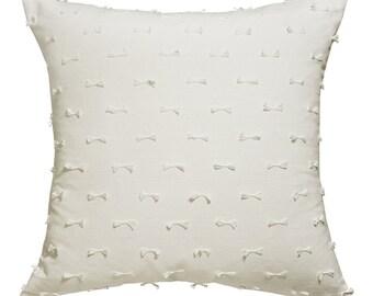Cute Bows Off-White Cushion Cover 45x45cm