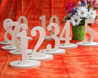 """1-20 1/2"""" thick Unfinished wooden table numbers Wedding table numbers Table number Kit"""