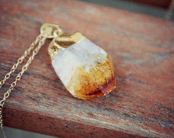 """Raw Citrine Gemstone Point Pendant - Gold Plated on 18"""" 14K Gold Filled Chain, Orange Stone Necklace"""