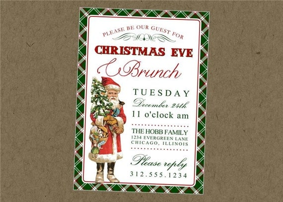 Vintage Santa Printable Christmas Invitation