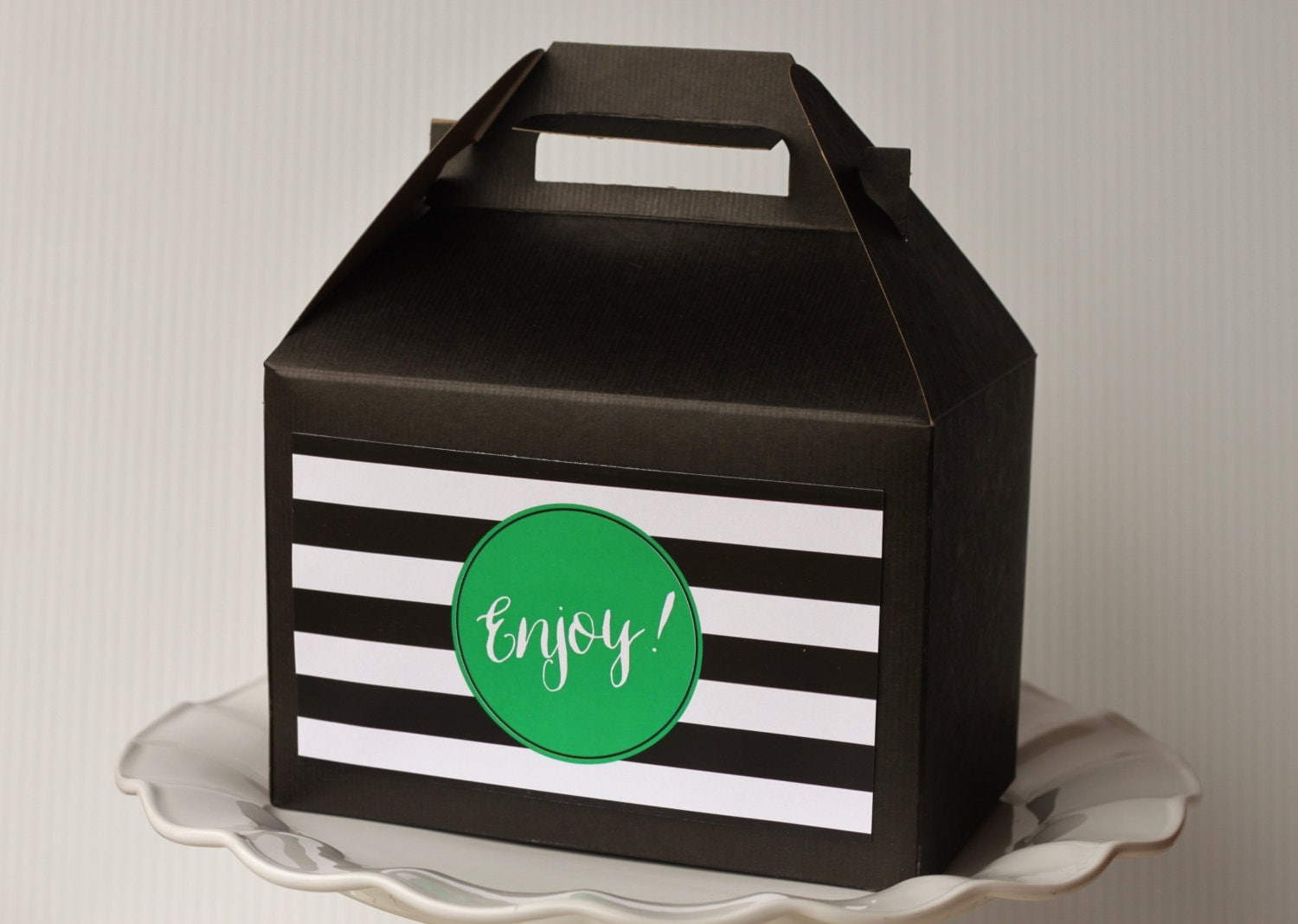 Set 10 Black Gable Boxes With Label Black And White Stripe