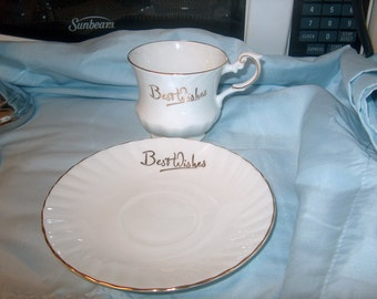 Vintage Cup & Saucer, Best Wishes, Queens Bone China, England, Rosina China Co.