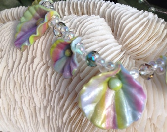 Pastel Leaf Polymer Clay Necklace