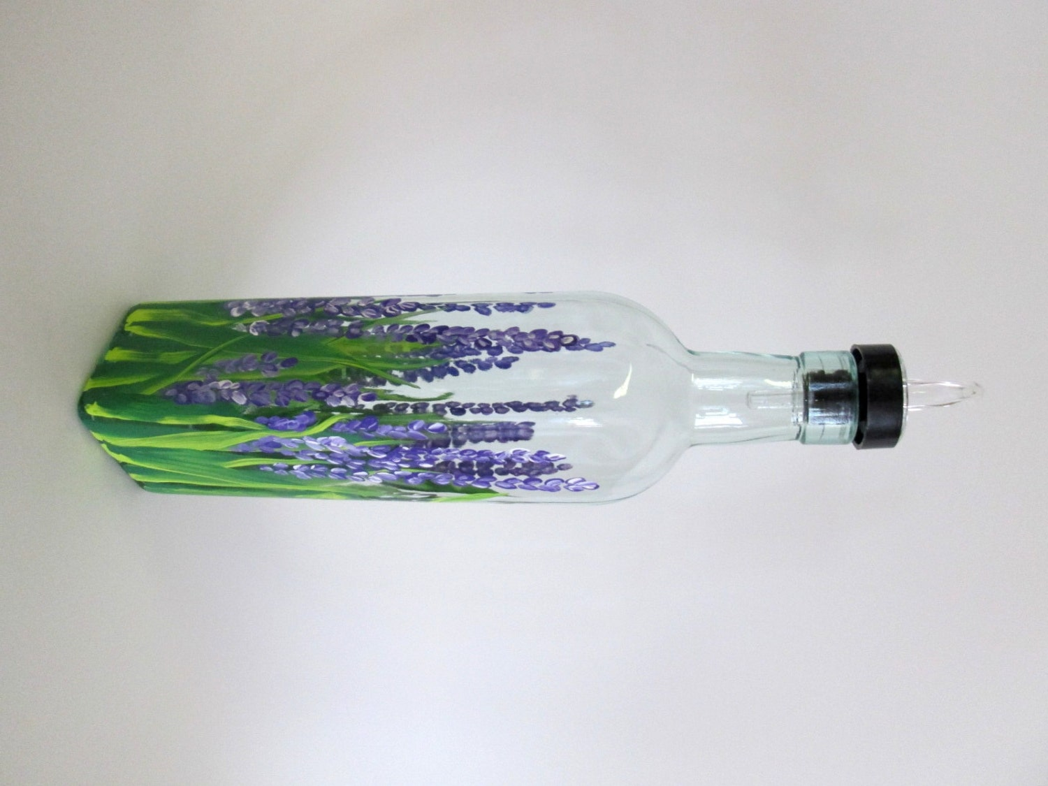 Hand Painted Olive Oil Bottle Or Soap Dispenser Field Of