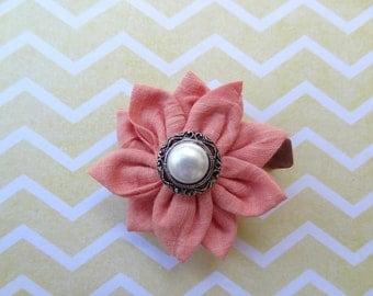 Peach Fabric Flower Hair Clip