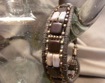 Beautiful Czech Glass Beads and Leather Bracelet