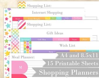 "Shopping Printable Planners - Rainbow - Shopping Tracker, Printable Shopping List - Editable - 8.5x11"" and A4"