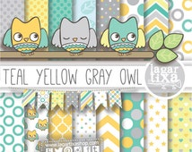 Digital Paper and Baby Shower Clip art Boy cute Owl Banner Bunting Teal turquoise yellow green gray Chevron Polka dots