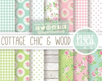 Shabby Chic Patterns Digital Paper Romantic Vintage pastel Pink white wood green teal turquoise aqua invitations blog background patterns