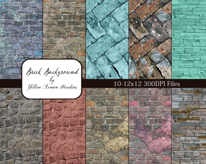 "INSTANT DOWNLOAD- colored and natural Brick Texture background Digital Scrapbooking Paper Pack, 12""x12"", 300 dpi .jpg"