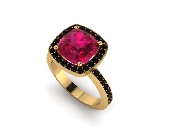 Ruby Engagement Ring Black Diamond Wedding Ring 14K Yellow