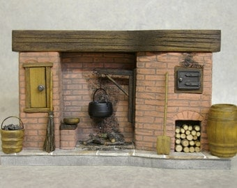 DollHouse Fireplace - Colonial Red Brick with oven door