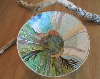 Custom Abstract Fiber Art Bowl