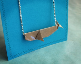 Origami whale necklace