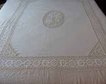 Antique Bedspread Coverlet Muslin Gauze Cluny Lace French Shabby Chic Cherubs Bacchus