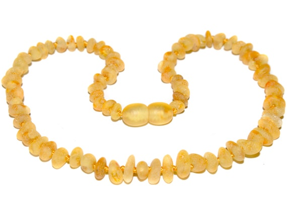 Genuine Raw Baltic Amber Baby Teething Necklace Honey color beads authentic