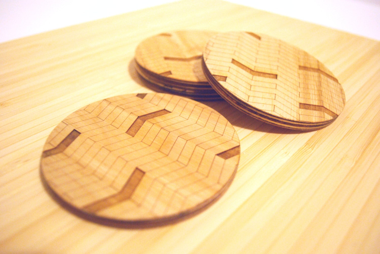 Chevron Coasters Modern Chevron Pattern Wood Coaster