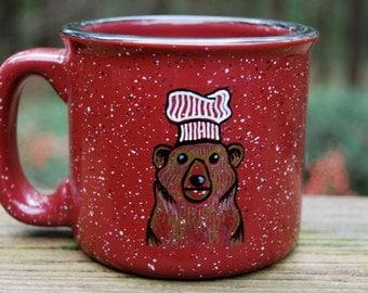 Hand Painted Bear Red Campfire Mug
