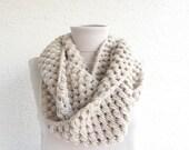 Crochet Scarf, Womens Infinity Scarf Shawl, Chunky Cowl Bubble Scarf - Beige / LEDA