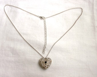 Crystal Heart Necklace - Upcycled Jewelry - Heart Pendant Necklace