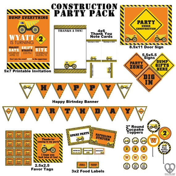 Items Similar To Construction Birthday Party Pack