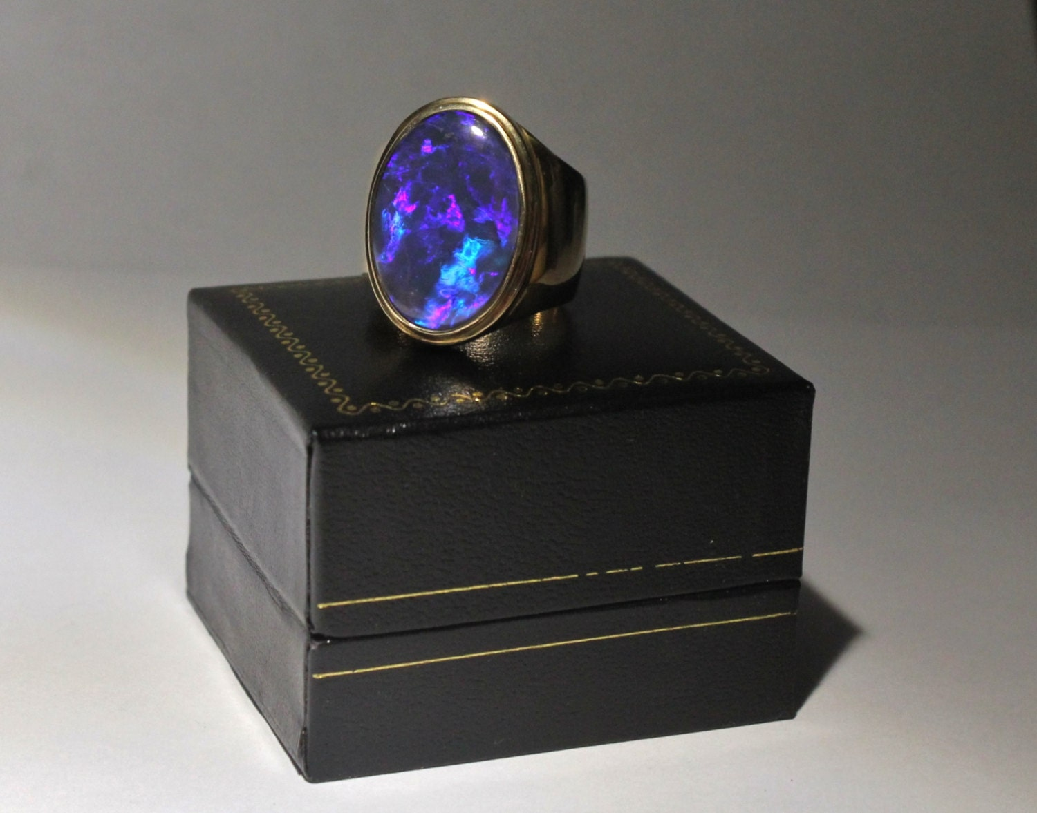 Black Opal Mens Ring 14 k solid yellow gold Black Opal Rings