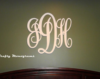 Wood Monogram Wall Decor 24 x 26 painted wooden monogram initials wall decor hanging
