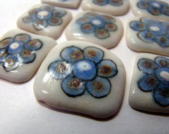 Handpainted ceramic mosaic tiles or cabochons from Mexico - 10 pieces