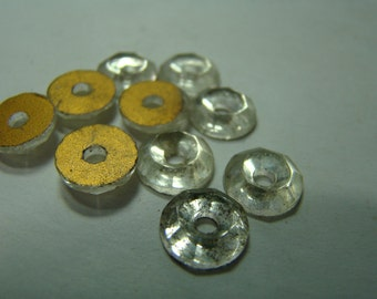Vintage gold-foiled clear donut rhinestone crystals - 10mm - 10 pieces