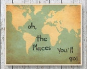 Word Map Art Oh, the Places you'll Go! Dr Seuss - Family Room playroom art - World map vintage looking print - Kids wall art for children