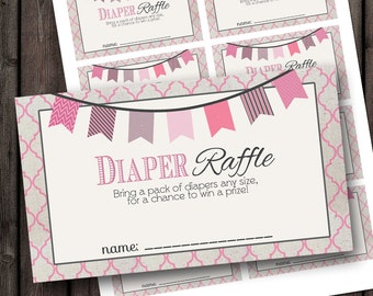INSTANT DOWNLOAD baby shower diaper raffle tickets